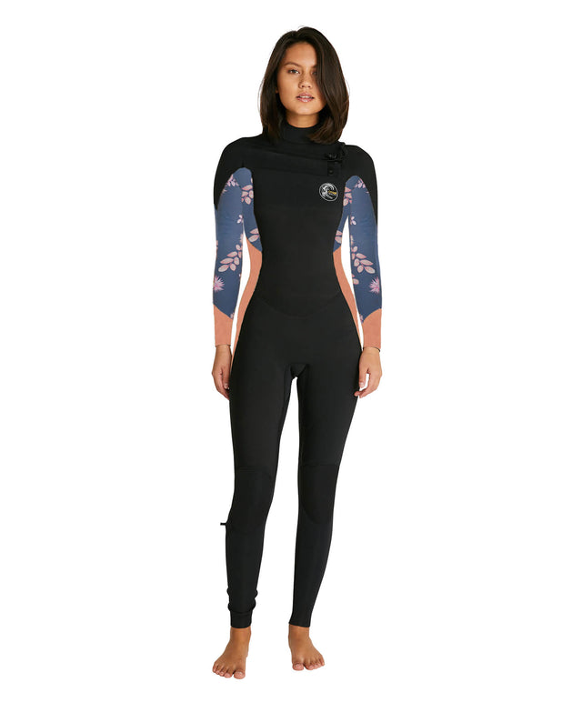Womens Bahia 4/3mm Steamer Chest Zip Wetsuit - Black/Magenta Floral