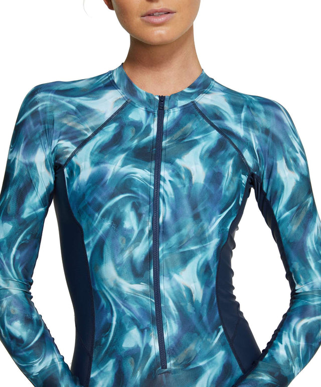 Womens Bahia Lycra Long Sleeve Surfsuit - Aqua Swirl