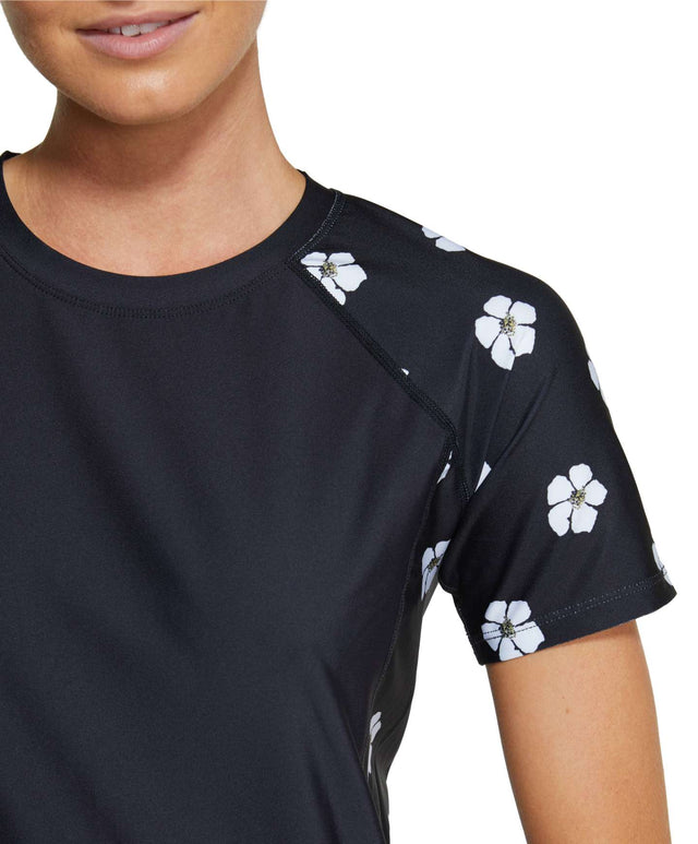 Womens Coast Short Sleeve Loose Rashie Tee - Black Daisy
