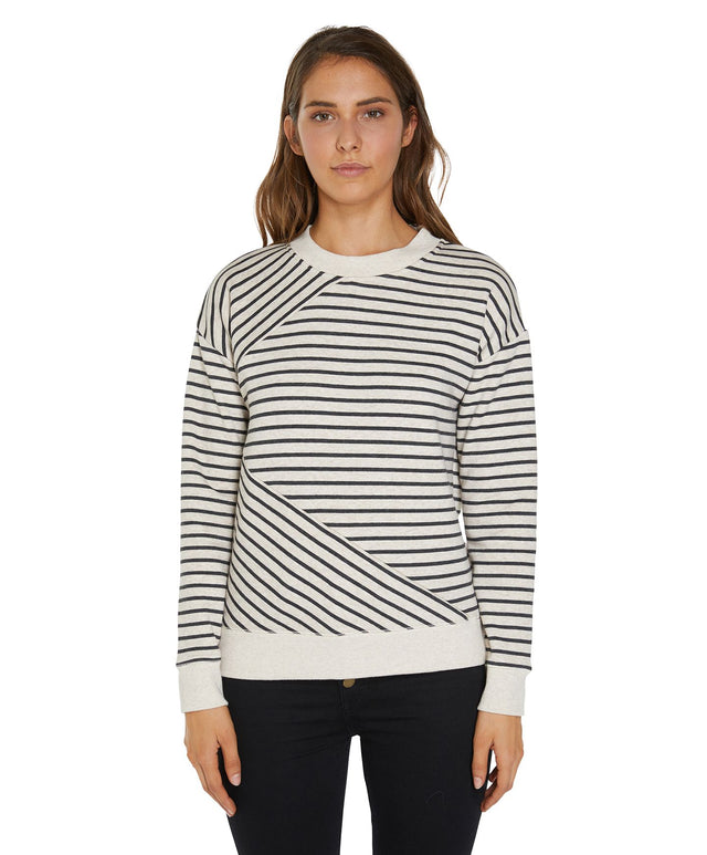 Montecito Crew Fleece Jumper - Oatmeal Stripe