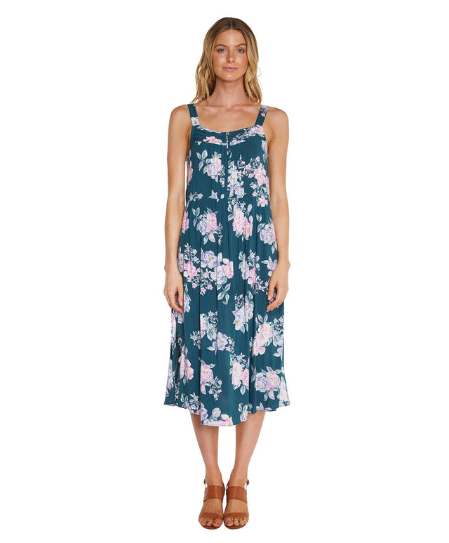 Ashton Midi Dress - Petrol Floral