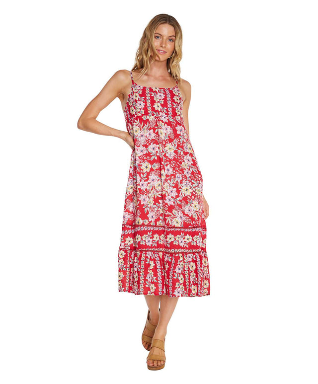 Daisy Chain Midi Dress - Red Floral