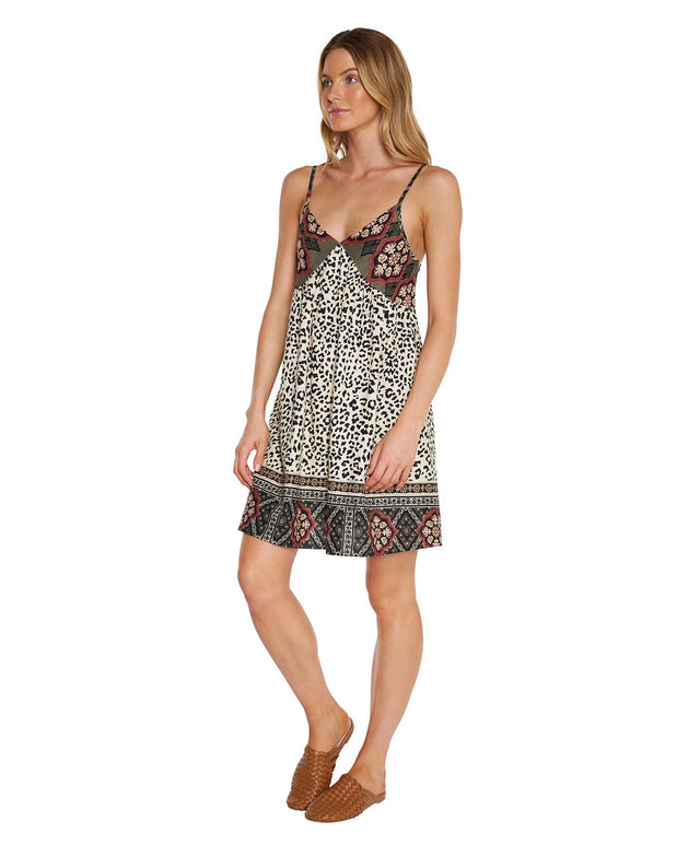 Layla Mini Dress - Leopard Patchwork