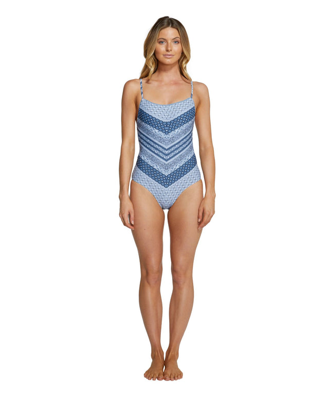 Empress One Piece Swimsuit - Blue Border