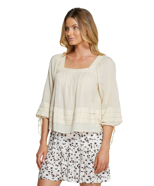 Maris Long Sleeve Top - Macadamia