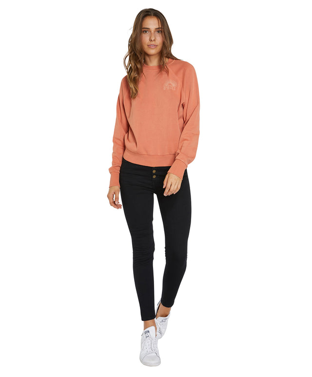 Mavericks Crew Neck Fleece Jumper - Henna