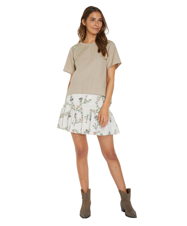 Formosa Mini Skirt - Stone Floral