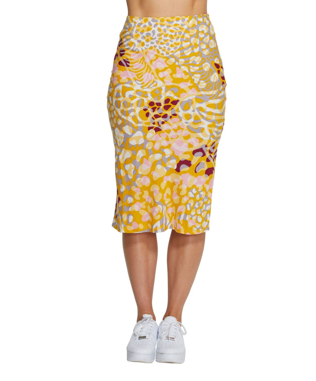 Peninsula Midi Skirt - Mustard Multi