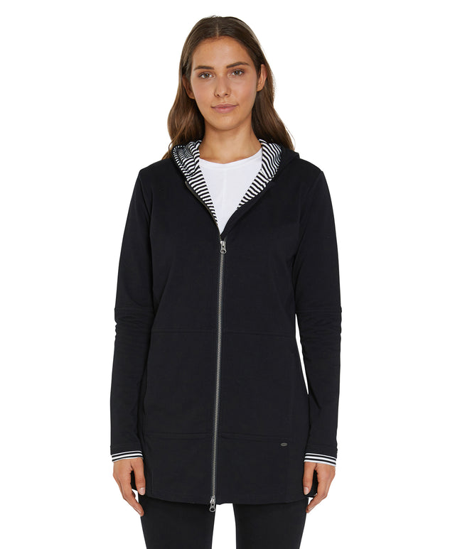 Peppergrass Zip Fleece Hoodie - Black