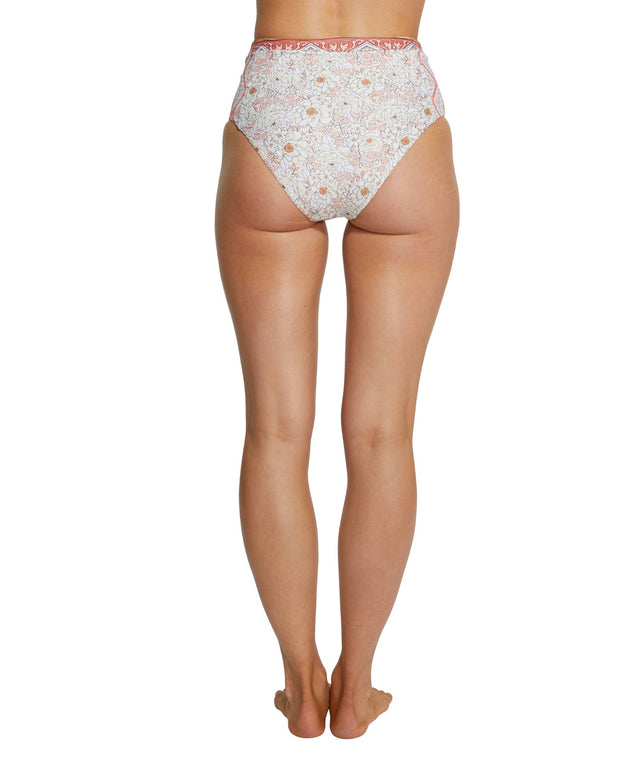 Rosa High Waist Bikini Bottom - Peach Floral
