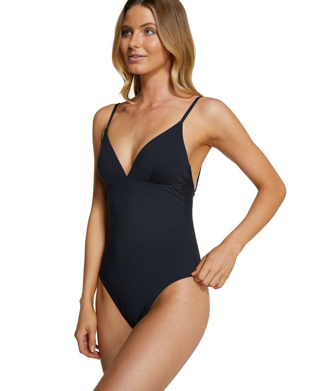 Salt Water Solids One Piece Swimsuit - Black
