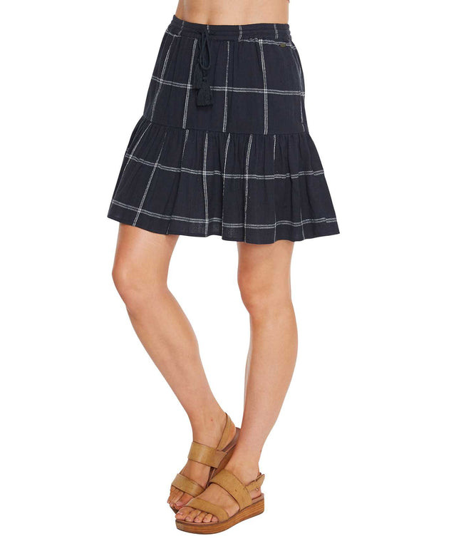 Freya Mini Skirt - Navy Plaid