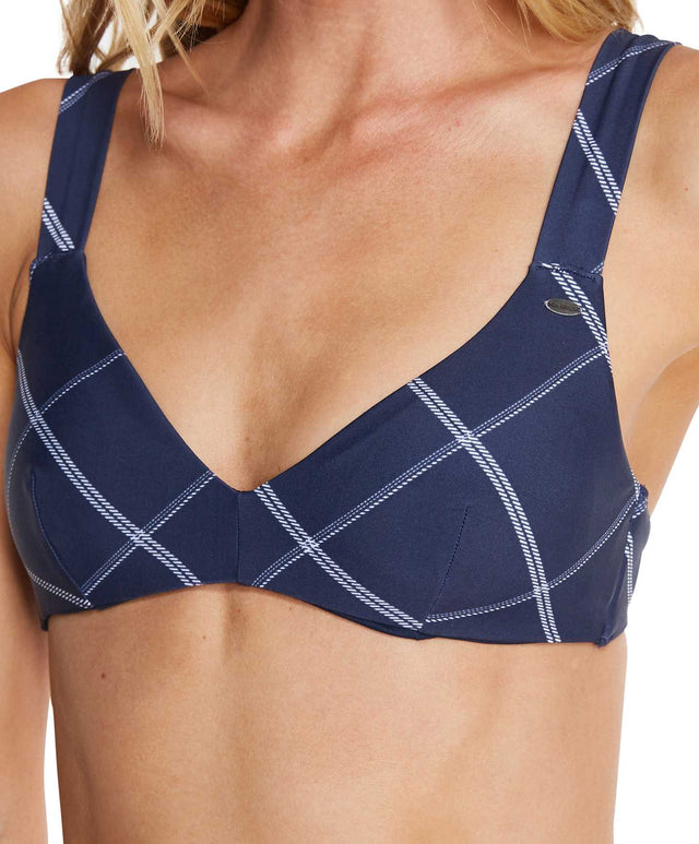 Bamboo Bikini Top - Navy Plaid