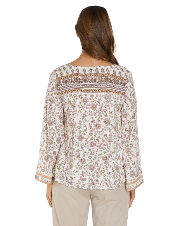 Lone Pine Long Sleeve Top - Peach Floral
