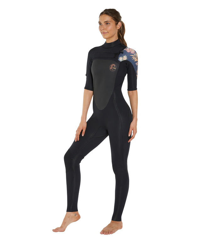 Bahia 2mm Short Sleeve Full Steamer Wetsuit- Black/Cactus