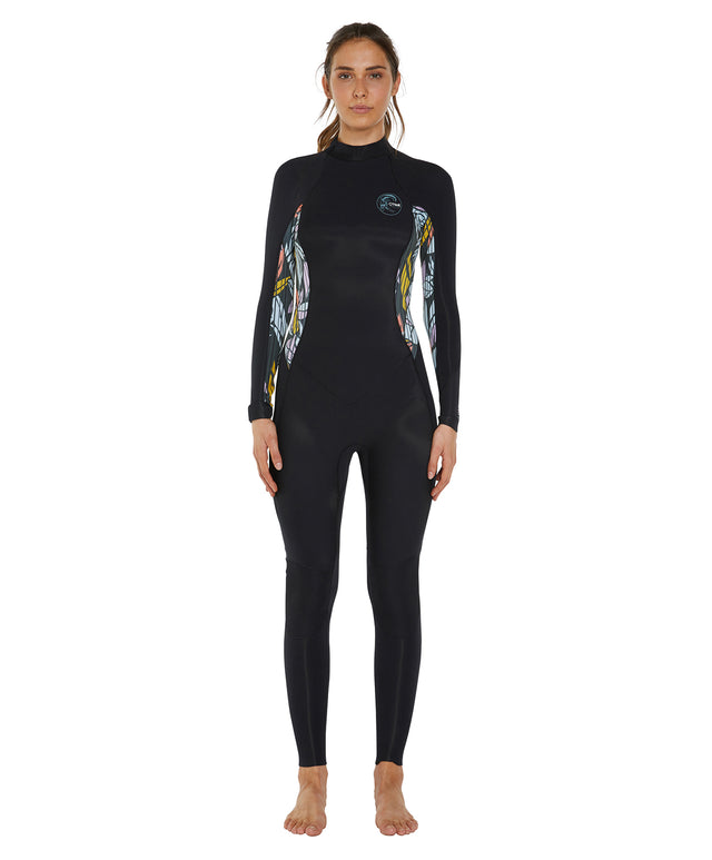 Bahia 3/2mm Womens Steamer Back Zip Wetsuit - Black / Baylan