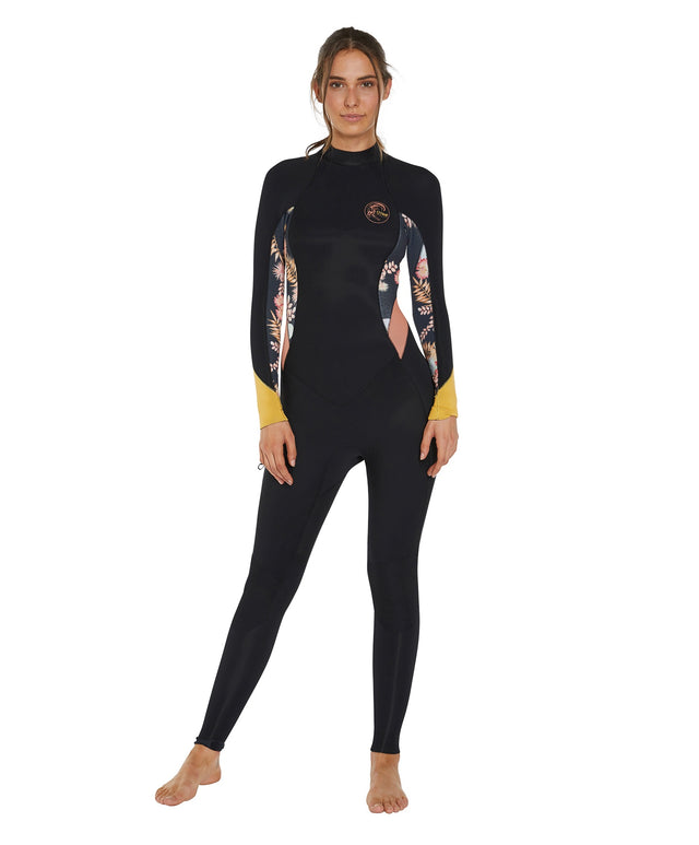 Bahia 3/2mm Womens Steamer Back Zip Wetsuit - Black Cactus
