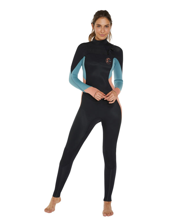 Bahia 3/2mm Womens Steamer Chest Zip Wetsuit - Black