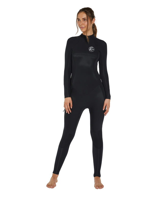 Bahia 4/3mm Womens Steamer Back Zip Wetsuit - Black