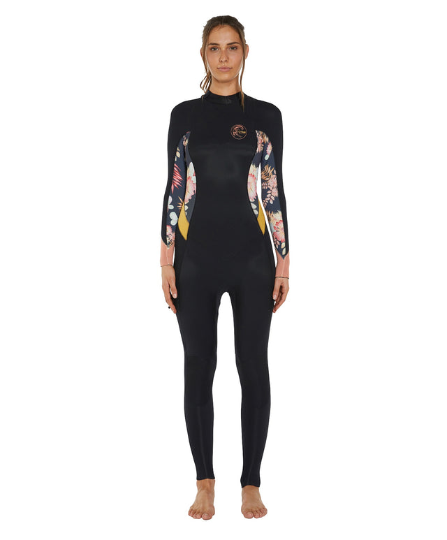 Bahia 4/3mm Womens Steamer Back Zip Wetsuit - Black Cactus