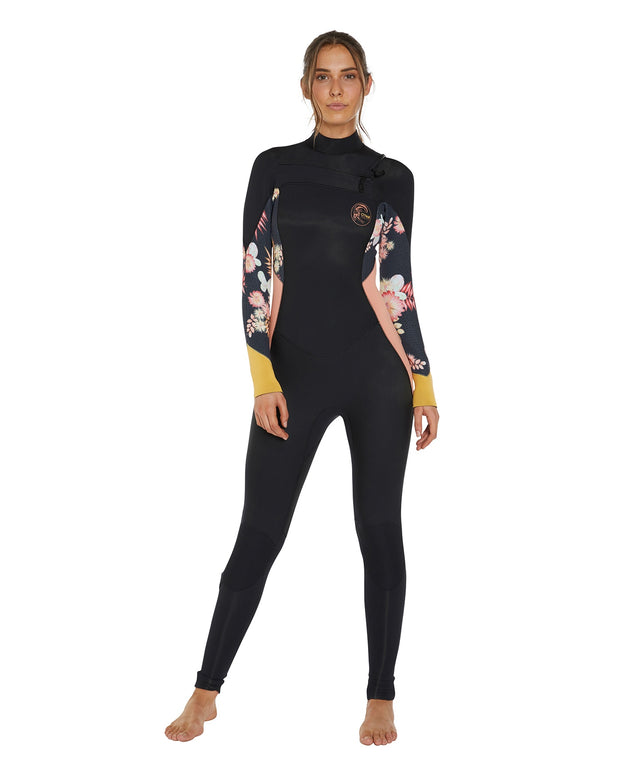 Bahia 4/3mm Womens Steamer Chest Zip Wetsuit - Black Cactus