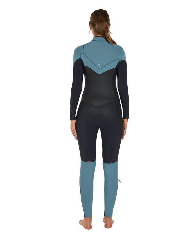 Psychotech 3/2mm Womens Steamer Chest Zip Wetsuit - Black/Eucalyptus