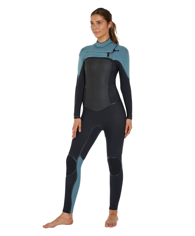 Psychotech 4/3mm Womens Steamer Chest Zip Wetsuit - Black/Eucalyptus