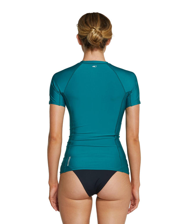 Womens Basic Skins Short Sleeve Rash Vest - Teal Green