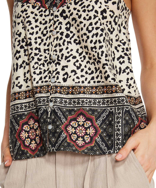 Lana Top - Leopard Patchwork