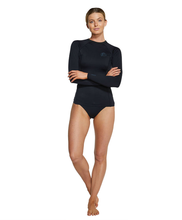 Womens Thermo Long Sleeve Rash Vest - Black