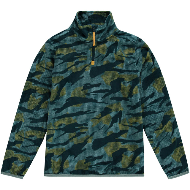 Boys Camo Snow Snow Fleece Half Zip - Green AOP