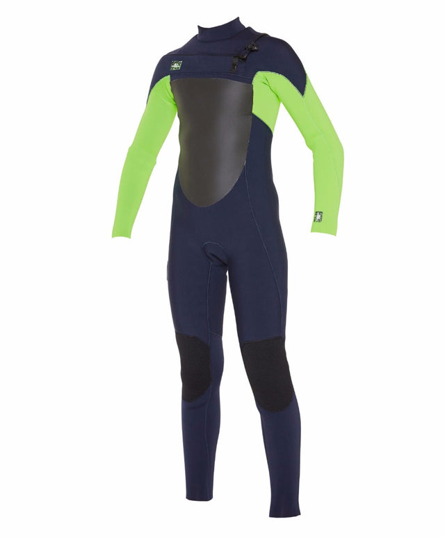 Kids Defender 3/2mm Steamer Chest Zip Wetsuit - Abyss/Dayglow