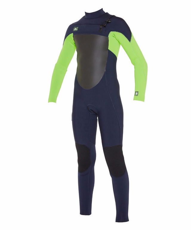 Kids Defender 4/3mm Steamer Chest Zip Wetsuit - Abyss/Dayglow