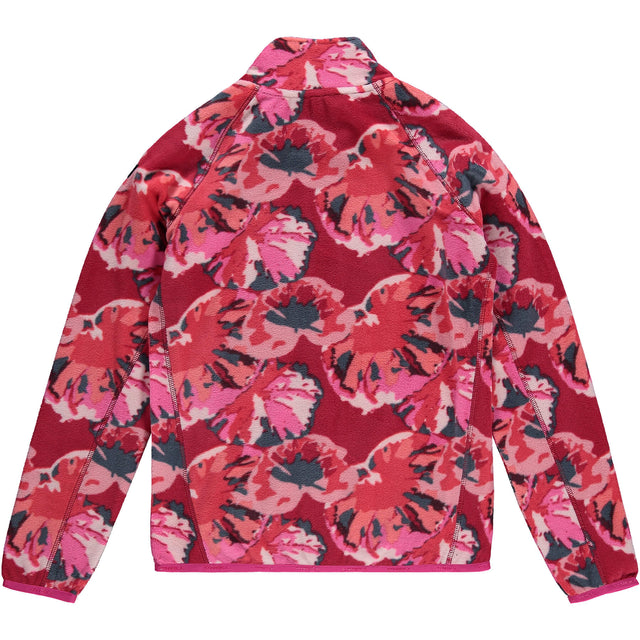 Girls Printed Snow Fleece Full Zip - Red AOP