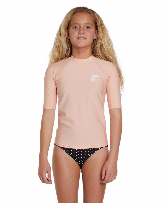 Girls Basic Skins Short Arm Crew - Peach Pink