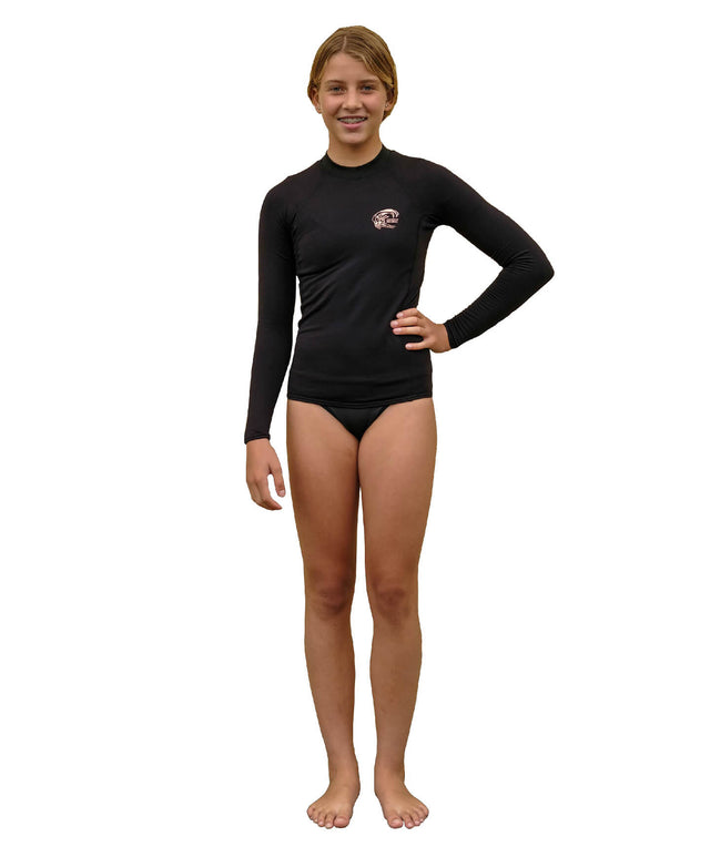 Girls Thermo Long Sleeve Crew - Black