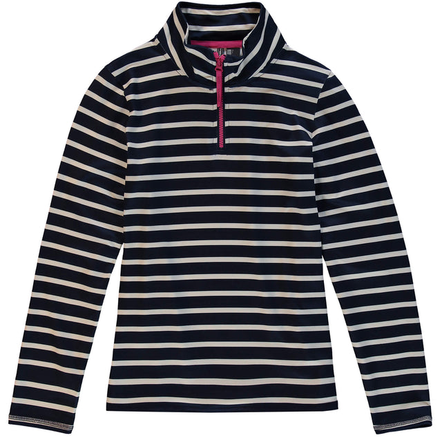 Girls Stripe Snow Fleece Half Zip - Blue AOP / White