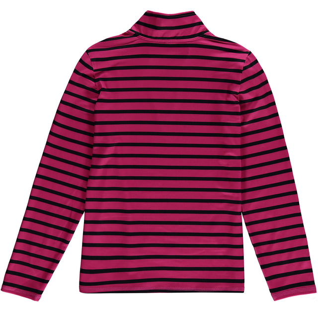 Girls Stripe Snow Fleece Half Zip - Pink AOP / Black