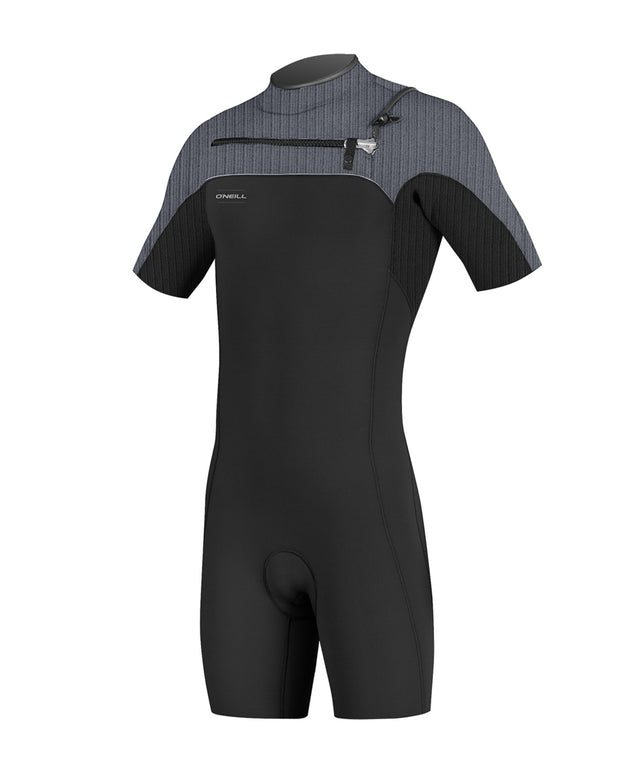 Hyperfreak 2mm Short Sleeve Springsuit Chest Zip Wetsuit - Black/Graphite