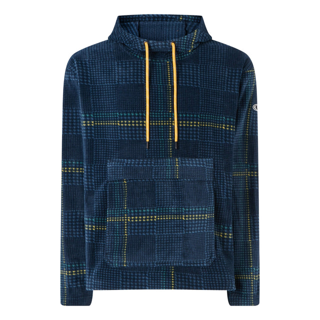 Mens Check Anorak Snow Fleece - Blue Aop