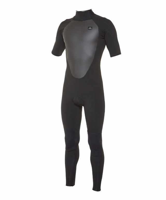 Defender Short Sleeve 2mm Steamer Back Zip Wetsuit - Black