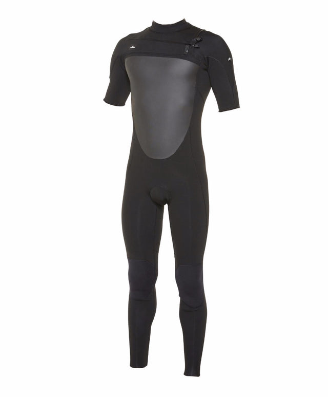 Defender Short Sleeve 2mm Steamer Chest Zip Wetsuit - Black