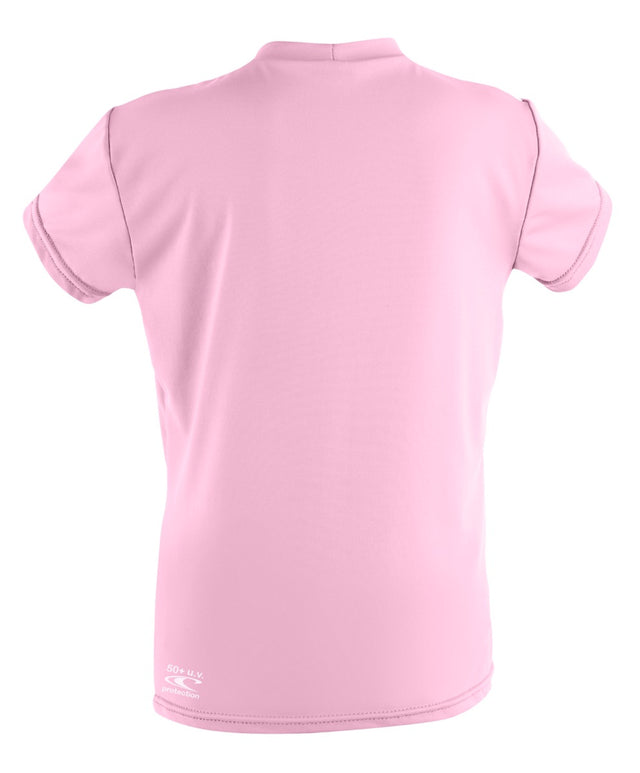 Girls Toddler Skins Short Sleeve Rash Vest - Pink
