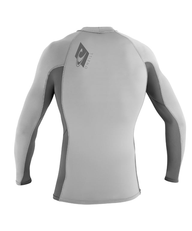 Kids Skins Long Sleeve Rash Vest - Grey/Smoke/Grey