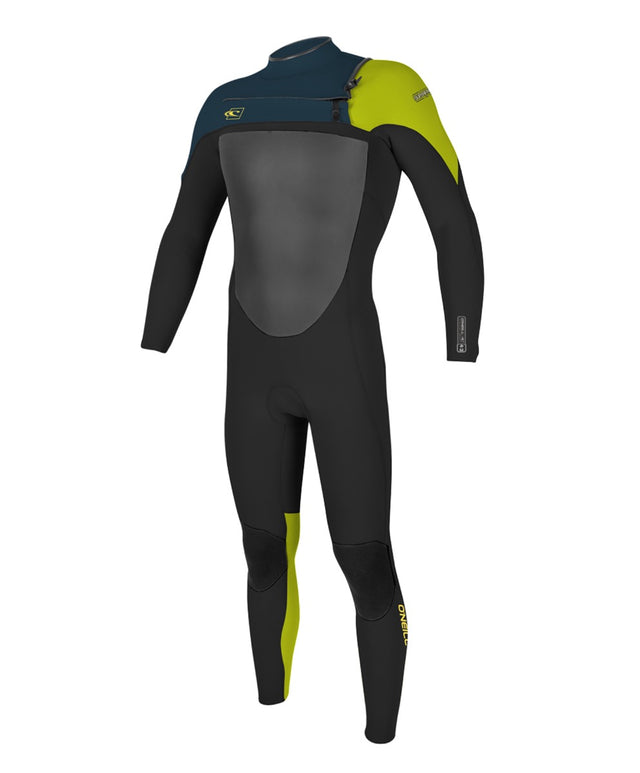 Kids Superfreak 3/2mm Steamer Chest Zip Wetsuit - Blk/Slate/Dayglo
