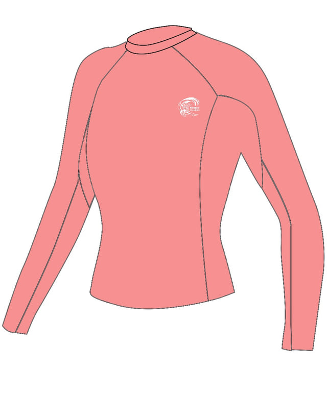 Womens Basic Skins Long Sleeve Rash Vest - Grapefruit