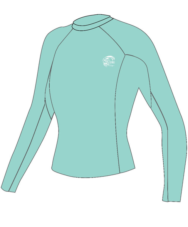 Womens Basic Skins Long Sleeve Rash Vest - Aqua