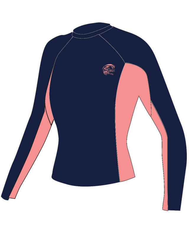 Womens Skins Long Sleeve Rash Vest - Navy/Grapefruit