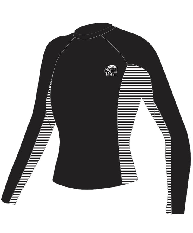 Womens Skins Long Sleeve Rash Vest - Black/Stripe