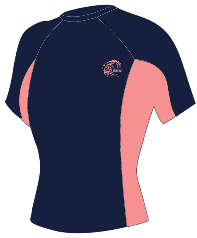 Womens Skins Short Sleeve Rash Vest - Navy/Grapefruit